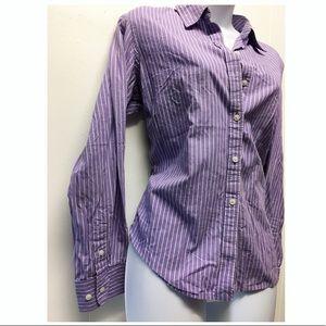 Chaos | Purple & White Stripe Button Down Blouse